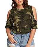Damen T-Shirt, MOIKA Großes trägerloses Camouflage Top T-Shirt (2XL, Camouflage)