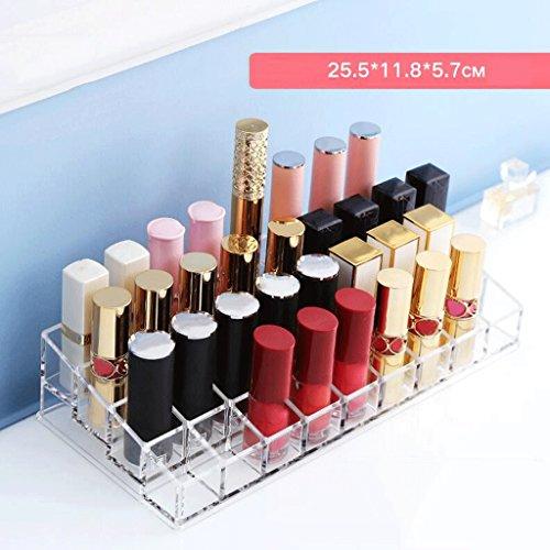 Étui de Maquillage Mode Maquillage Rouge à lèvres présentoir Acrylique 36-Grille Organisateur cosmétique Clair Cas de Stockage Transparent Grand diamètre Coiffeuse UOMUN