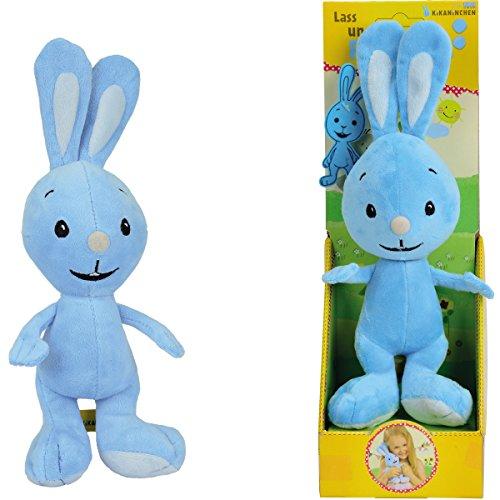 KiKANiNCHEN Plüschfigur mit kleinem Filzanhänger, blau, 30 cm || Handpuppe 30cm Kika Hase Maskottchen Stofftier Kika Kaninchen plüsch