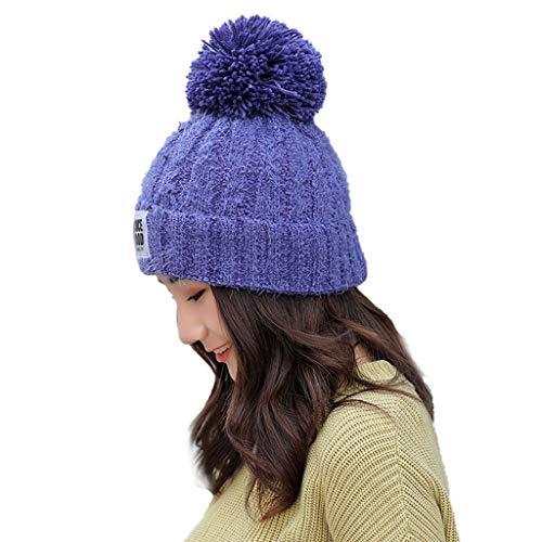 Fcostume Erwachsene Frauen Männer Winter Crochet Hat Strickmütze Einfarbig Hairball Warm Deckel (Blau) -