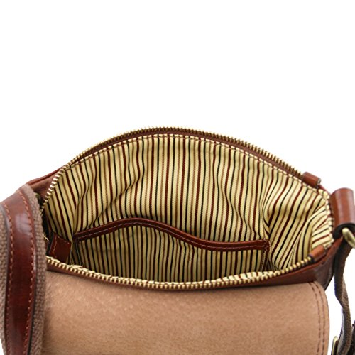 Tuscany Leather John - Borsello da uomo in pelle con zip frontale Nero Borse uomo in pelle Nero