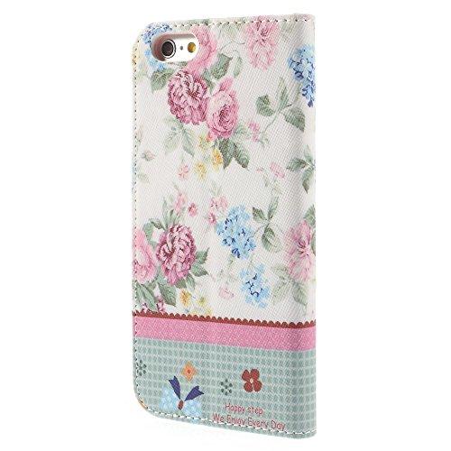 iPhone 6 6S Hülle Klapphülle von NICA, Slim Flip-Case Kunst-Leder Vegan, Phone Etui Schutzhülle, Dünne Vorne Hinten Handytasche Wallet Bumper für Apple iPhone 6S 6 - Pretty Roses Edition Pretty Blooming Peony