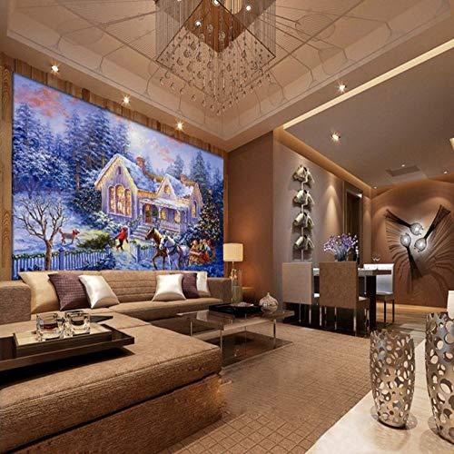 HONGYAUNZHANG Winter Weihnachten Schnee Szene Benutzerdefinierte Fototapete 3D Stereoskopischen Wand Wohnzimmer Schlafzimmer Sofa Hintergrund Wandmalereien,140Cm (H) X 220Cm (W)