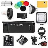 Godox 2.4TTL HSS due teste AD200200W + flash Trigger + flash lampadina x1t-c schermo cover + riflettore e filtro colore + 40x 40Softbox kit per fotocamere Canon