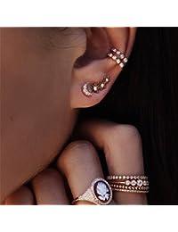 Lnlyin Star Moon Crawler Zircon Diamond Pin Vines Ear Cuff Wrap Stud Earrings Cute Stud Cuff Earrings Set