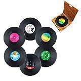 Miaoo Lot de 6dessous-de-verre Retro CD Record en vinyle Boisson Tasse Tapis