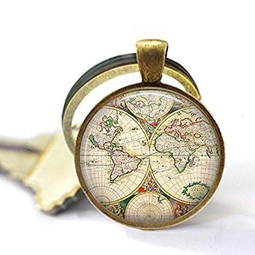 Weltkarte Globe Schlüsselanhänger, Vintage Globe Schlüsselanhänger, Weltkarte Art Schlüsselanhänger, Lehrer Geschenk, World Travel Adventurer, Weltkarte Globe Jewelry