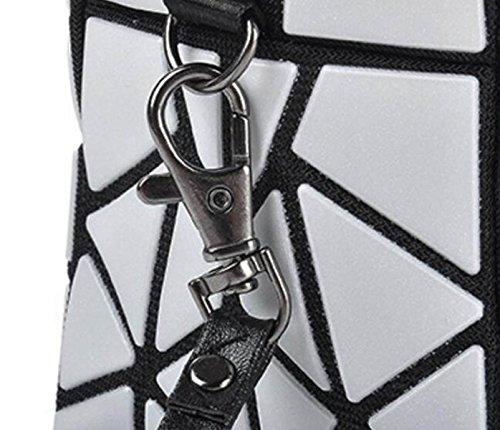 FZHLY Nuova Signora Geometrica Opaca Sacchetto Piegante Moda Pochette Lingge,Purple Black