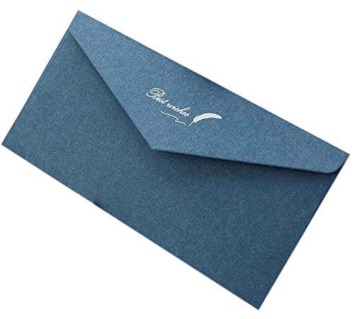 20pcs Retro Blue Einladungsumschläge Kraftpapier Best Wishes Grußkarten für Business, Hochzeit, Baby Shower