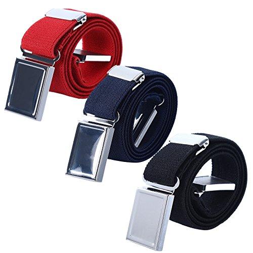 Junge Kinder Magnetisch Schnalle Gürtel - Einstellbar Elastisch Kinder Gürtel zum Mädchen, 3 Stücke (Rot/Marineblau / Schwarz)