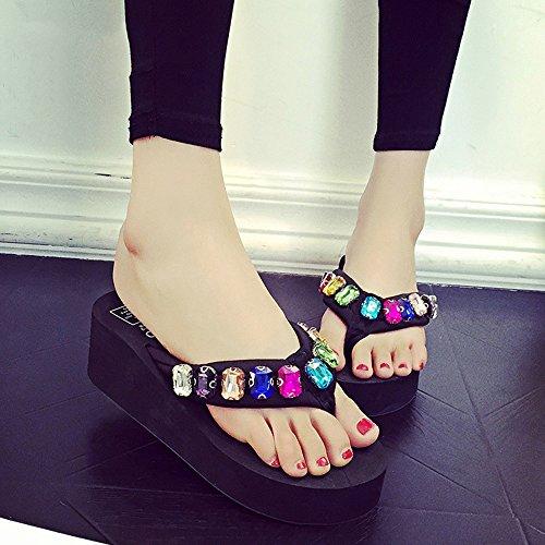 Estate Sandali 5,5 centimetri  Fiori di vibrazione dei rhinestones di modo di estate / scarpe da spiaggia (nero, blu, marrone, dentellare, bianco) Colore / formato facoltativo Nero