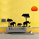 Forest Sun Prairie Jungle Elephants Árbol genealógico Pegatinas de pared para habitaciones de niños Decoración Animal salvaje Tatuajes de pared Pvc Mural Art 108x57cm Negro