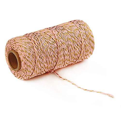 gshhd88 Baumwolle Schnur Multifunktional Fabala Geschenk Dekoration Traditionell Feuchtigkeit Absorption Stark Umweltfreundlich Bicolor (Schwarz+Weiß) - Gold Sparkle + Pink, Free Size -