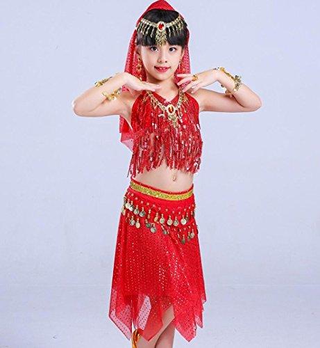 Kinder indische Tanz Kostüm Kleinkind Mädchen Bauchtanz Performance Kostüm rot, 150cm