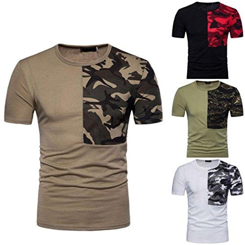 Camouflage O Neck Pullover T-Shirt Chemise à Manches Courtes à Imprimé Patchwork pour Hommes Malloom