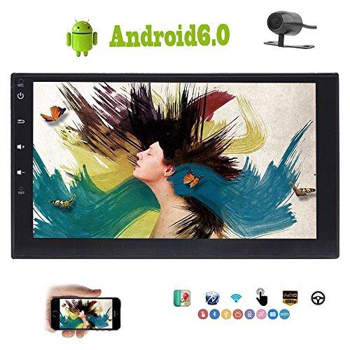 Foiioe gratuit Caméra de recul stéréo de voiture Android 6.0 Marshmallow écran tactile HD 1080p 17,8 cm double DIN Voiture Autoradio Autoradio Navigation GPS Bluetooth