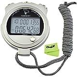 Ckeyin ® Metal Waterproof Stopwatch Digital Running Timer Sport Track & Field Stopwatch /Countdown Timer Clock with Neck Strap