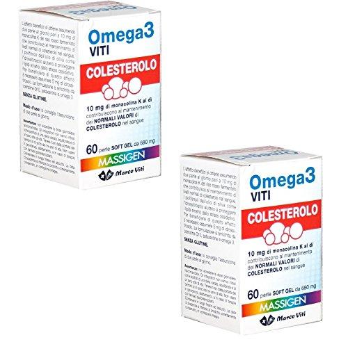 2 OMEGA 3 COLESTEROLO MARCO VITI 120 PERLE CON OMEGA 3 E RISO ROSSO MONOCOLINA