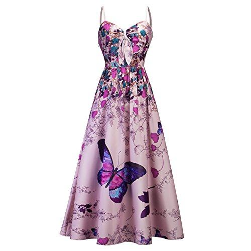 Babyonlinedress Damen Vintage Retro Kleider mit Schmetterling und Blumen Abendkleider...