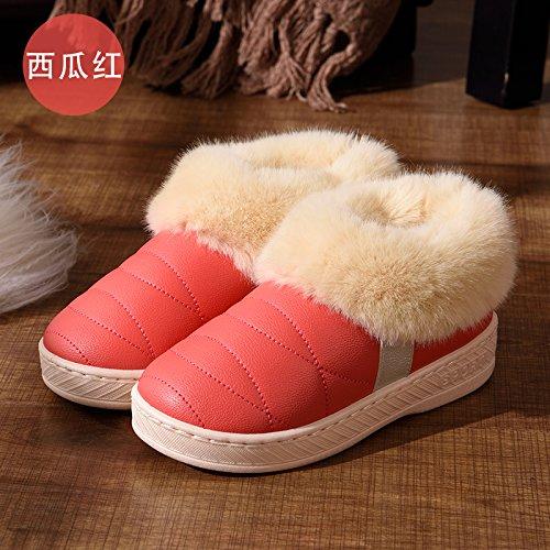 DogHaccd pantofole,Inverno pelle pu alta per aiutare uomini e donne rimanere impermeabile home paio di pantofole di cotone confezione con spesse, antiscivolo indoor scarpe di cotone Il rosso1
