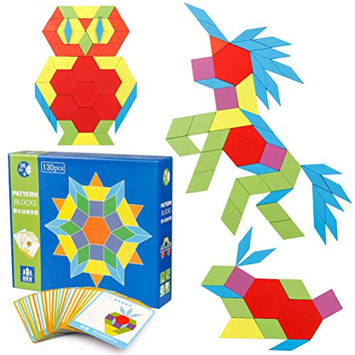 Egosy A Set Pattern Blocks and Boards Classic Toy Puzzles aus Holz Gehirntraining Geometrie Spiele Musterblöcke für Vorschulkinder oder Kindergartenkinder. - Pattern-blocks