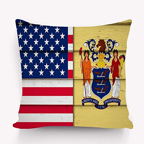 e Pillow case New Jersey us Flag usa Flag Flag New Jersey Wood 18 * 18 inch ()