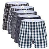 Kungber américain Style Boxer Homme, American Style Boxer Paquet de 5, caleçons de sous-vêtements pour Hommes, Short avec Un Bouton 100% Coton, Carreaux à Motifs, Ouvert (XL)