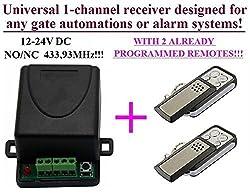 Universal 1-kanal Funkschalter Funkempfänger + 2 Handsenders, 12-24V DC, 433,92MHz NO/NC