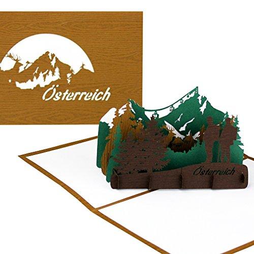 """3D Pop Up Karte """"Panorama Österreich – Berglandschaft mit Großglockner"""" - Edle Grußkarte & Souvenir – Spezialpapier mit Holzmaserung – Reisegutschein, Souvenir & Einladungskarte"""