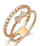 Epinki 18K Gold Diamantring Damen Ringe Bow-knot Doppelschicht Trauringe Glänzend Damenringe Rose Gold mit Diamant Gr.50 (15.9)