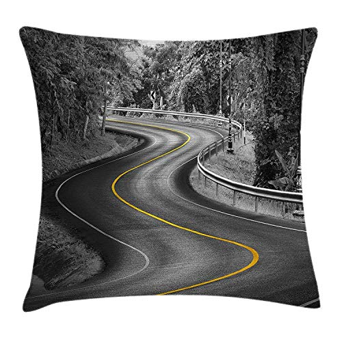 Kissenbezüge Black and White Decorations Throw Pillow Cushion Cover, Curvy Asphalt Road with Yellow Line Nature Forest Trees, Decorative Square Accent Pillow Case, 18 X 18 Inch, Charcoal Grey Mustard -