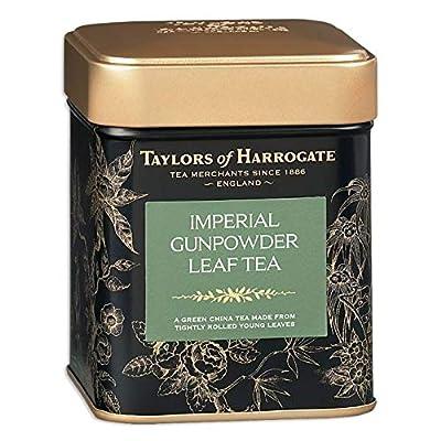 Taylors of Harrogate Imperial - Thé vert à la feuille Gunpowder à base de jeunes feuilles étroitement enroulées Thé vert chinois à feuilles mobiles conservés dans une boîte en métal à base de jeunes feuilles à roulement - 1 x 125 grammes