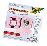 Folia 140526 Doppelkarten, Kuverts und Einlagen, rosa, circa 13.5 x 13.5 cm