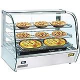 Heisse Theke Bain Marie 160 Liter 1,1 kW 230 V mit LED-Beleuchtung Warmhaltetheke Warmhaltevitrine Wärmetheke Schiebetüren Einstellbares Thermostat 30°C bis 90°C. Ideal für heiße Speisen .
