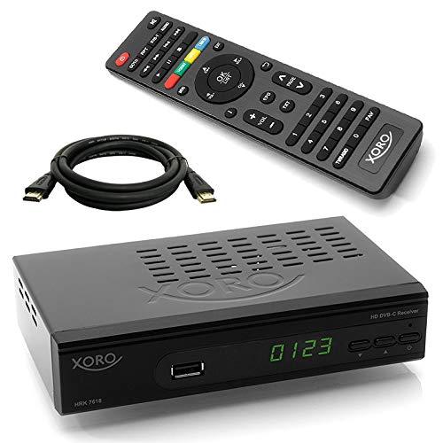 netshop 25 Xoro HRK 7618 HD Receiver + HDMI Kabel für digitales Kabelfernsehen (HDMI, SCART, USB, LAN) leistungsfähiger Chipsatz mit USB Mediaplayer (alle Deutschen Kabelnetze)