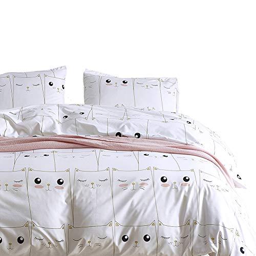 Boqingzhu Bettwäsche Set 135x200 cm Rosa Weiß Süße Tiere Katzen Kinderbettwäsche Mädchenbettwäsche Jugendbettwäsche Bettbezug mit Reißverschluss und Kopfkissenbezug 80 x 80 cm