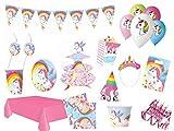 XXL Party Deko Set 1.Geburtstag Kindergeburtstag Einhorn Unicorn pink pastel für 12 Personen (117 teilig) Party Geschirr Einhorn Unicorn Party Deko Komplett Set