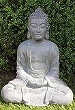 XXXL Grand Bouddha Feng Shui Statue Figurine de jardin pierre 80cm assis
