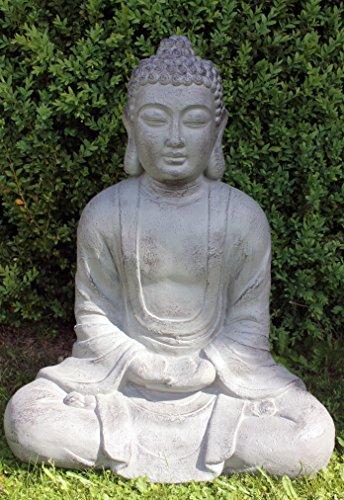 XXXL Großer Buddha 80 cm Steinfigur Garten Deko Figur Skulptur Feng Shui sitzend (Buddha Groß)