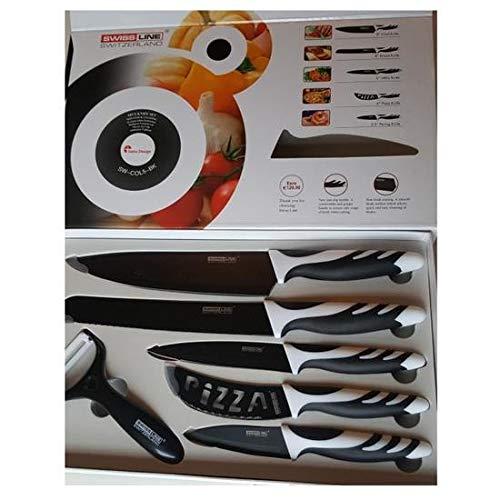 Set Coltelli Rivestiti in Ceramica Swiss Line Switzerland 6 Pezzi - colore Nero