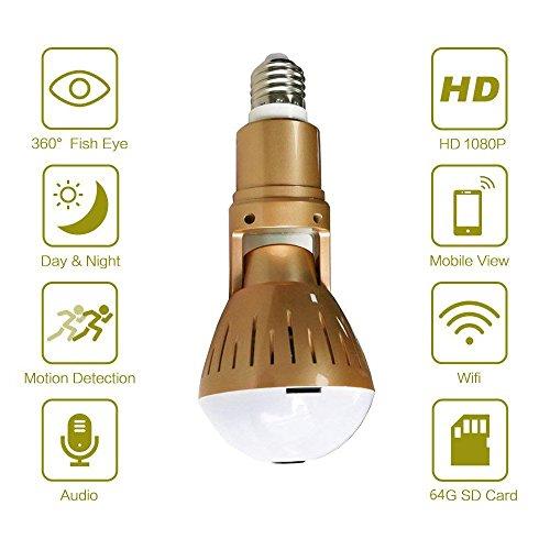 Goldene LED-Kamera-Birnen-Licht, Smart-Kamera 360 Wifi Mobile App V380, um es zu steuern, 1080P 360 ° Weitwinkel-Fischaugen-Panorama, Zwei-Wege-Audio, Länge und Winkel einstellen, Nachtsicht, für Home Security Outdoor Überwachungskamera für Android ios