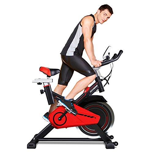 Sportstech Profi Indoor Cycle SX100 mit 13KG Schwungrad, gepolsterter Armauflage, Komfortsattel mit Sitzfederung, Pulsmessung – Speedbike mit flüsterleisem Riemenantrieb – Bodenschutzmatte gratis - 2