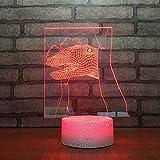 3D Lampara Led Luz Ilusión óptica Botón táctil color o 7 colores cambiar gradualmente Decoración del dormitorio del bebé regalo del día de San Valentín sueño asistido Testa di dinosauro