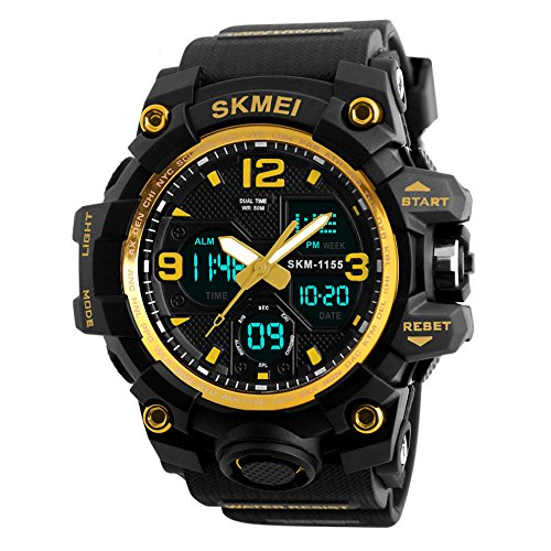 LED Stoßfest für Herren Uhren-Armbanduhr Sportuhren 50 Meter wasserdicht, HiChili Militär Armbanduhr Sport-Uhren Digitaluhr Luxus-LED-Licht Display Sport-Armbanduhr für Outdoor, Bergsteigen oder Wandern, Männer Gold (Uhren Sport Männer)