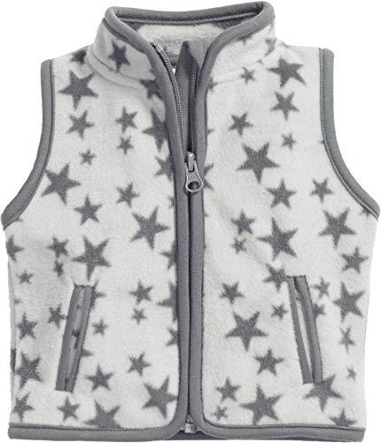 Schnizler Schnizler Unisex Baby Fleece-Weste Sterne Weste, per Pack Grau (grau 33), 62 (Herstellergröße: 62)