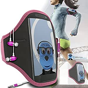 Baby Pink Black Adjustable Sports GYM Jogging Running ArmBand Case Cover with 3.5mm Aluminium Headphones For T-Mobile myTouch 4G Slide