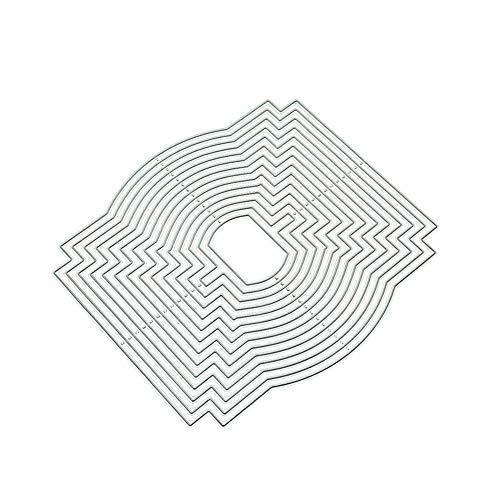Huhuswwbin Stanzschablone aus Metall, 14Pcs geometrischen Hintergrund Grenze Pr?ge Stanzformen DIY Scrapbooking Dekor - Silber -