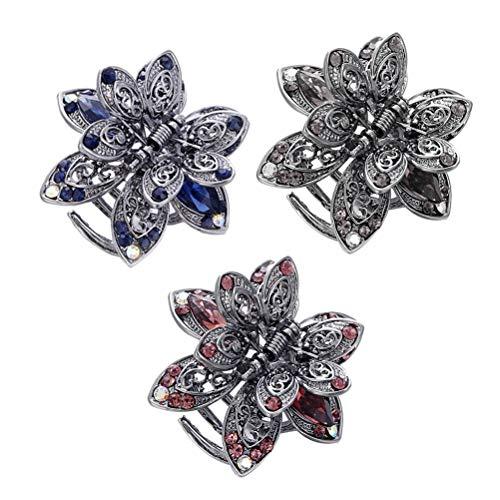 Frcolor Kristall Schmetterling Blume Haargreifer-Clips Vintage Metall Haarspangen 1pcs (Zufällige Farbe)