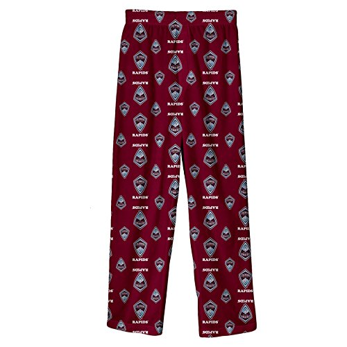 MLS Colorado Rapids Boys All Over Team Logo Sleepwear Printed Pants, Burgundy, Small (8)