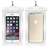 HC & Abele Universal wasserdichter Fall Dry Bag Handy Tasche für iphone 77S Plus 66S Plus SE 5S 5C, Samsung Galaxy S8, S7S6Edge, 2Stück, weiß